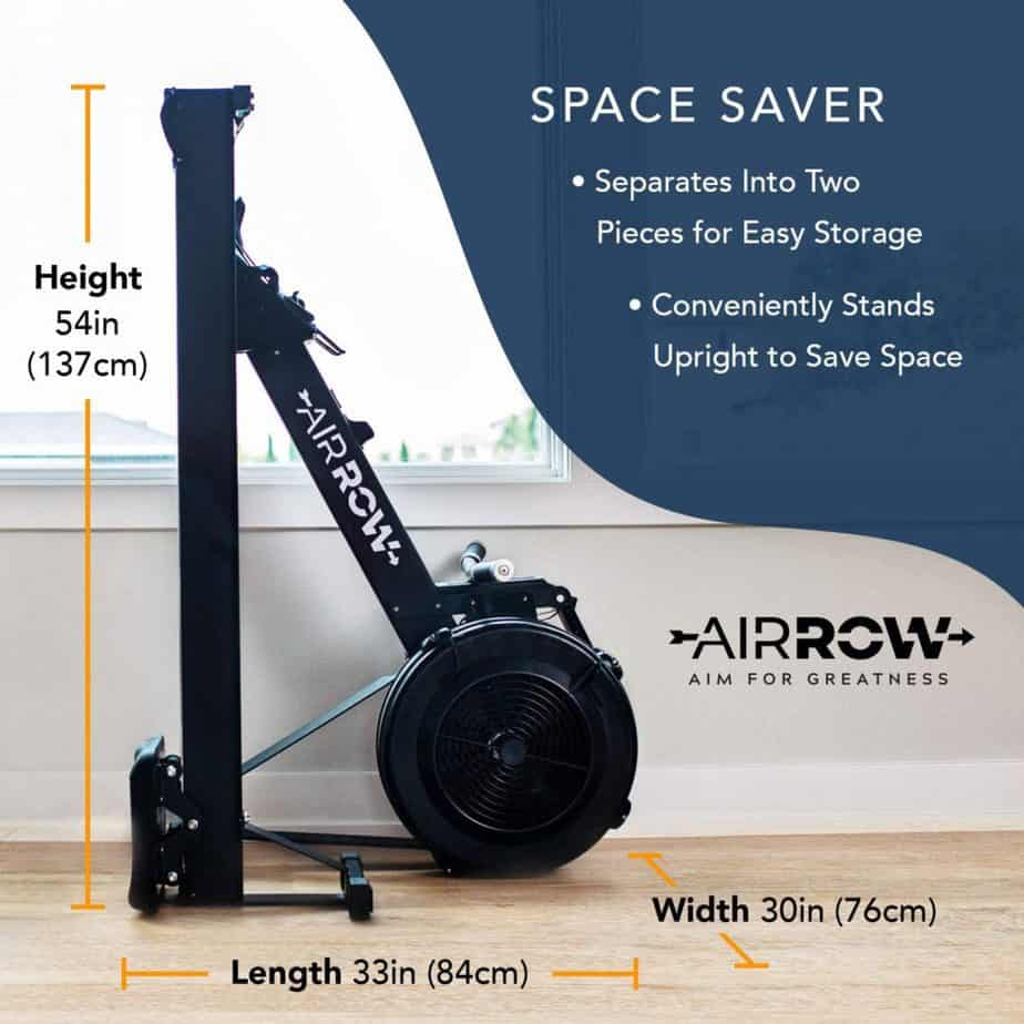 The AirRow Fitness Rowing Machine is folded for storage