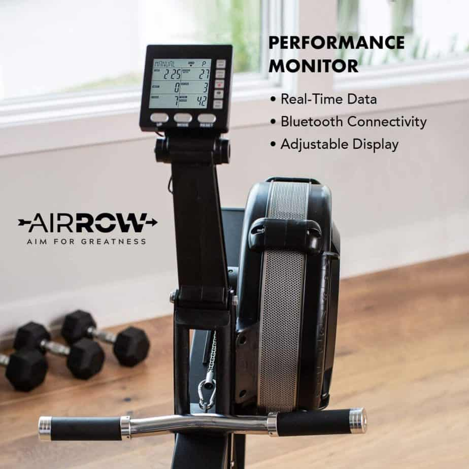 The console of the AirRow Fitness Rowing Machine