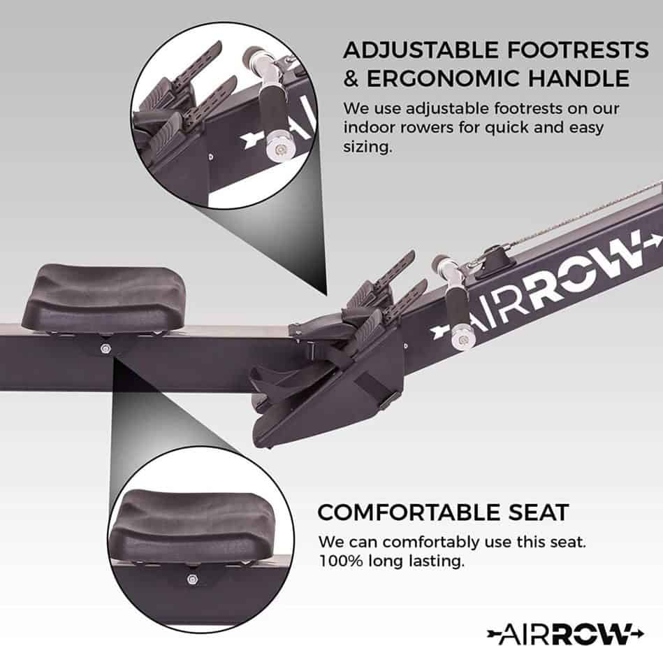 The seat and the handlebar of the AirRow Fitness Rowing Machine