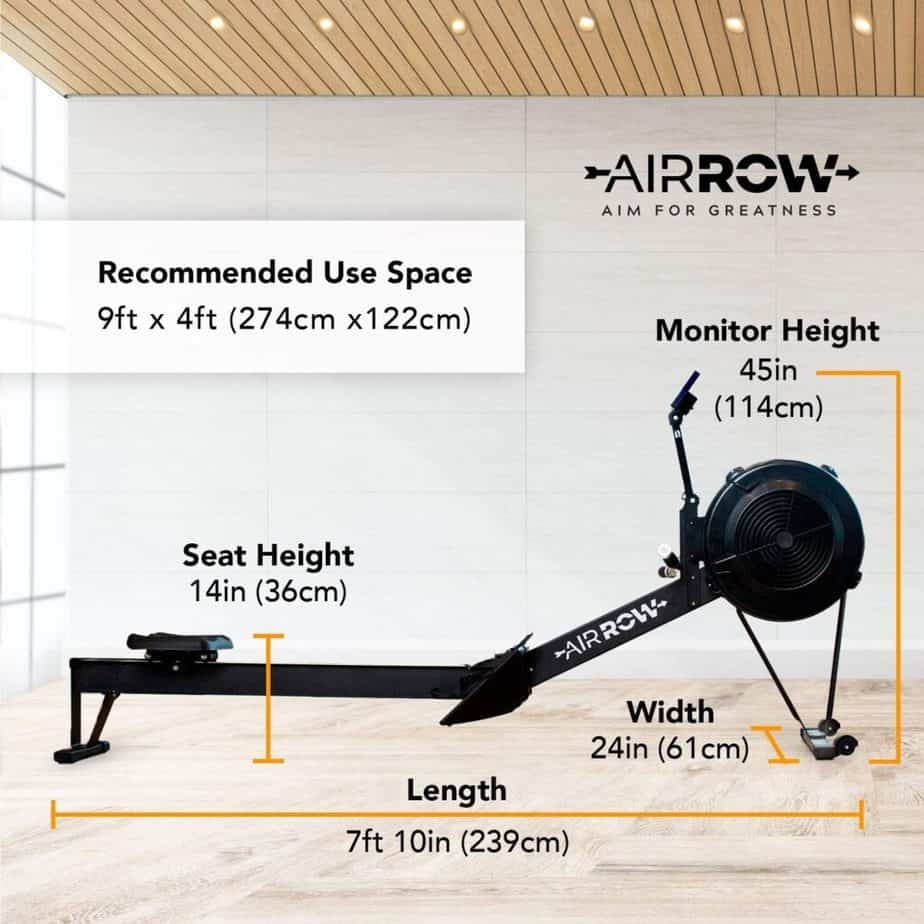 The AirRow Fitness Rowing Machine and its dimensions
