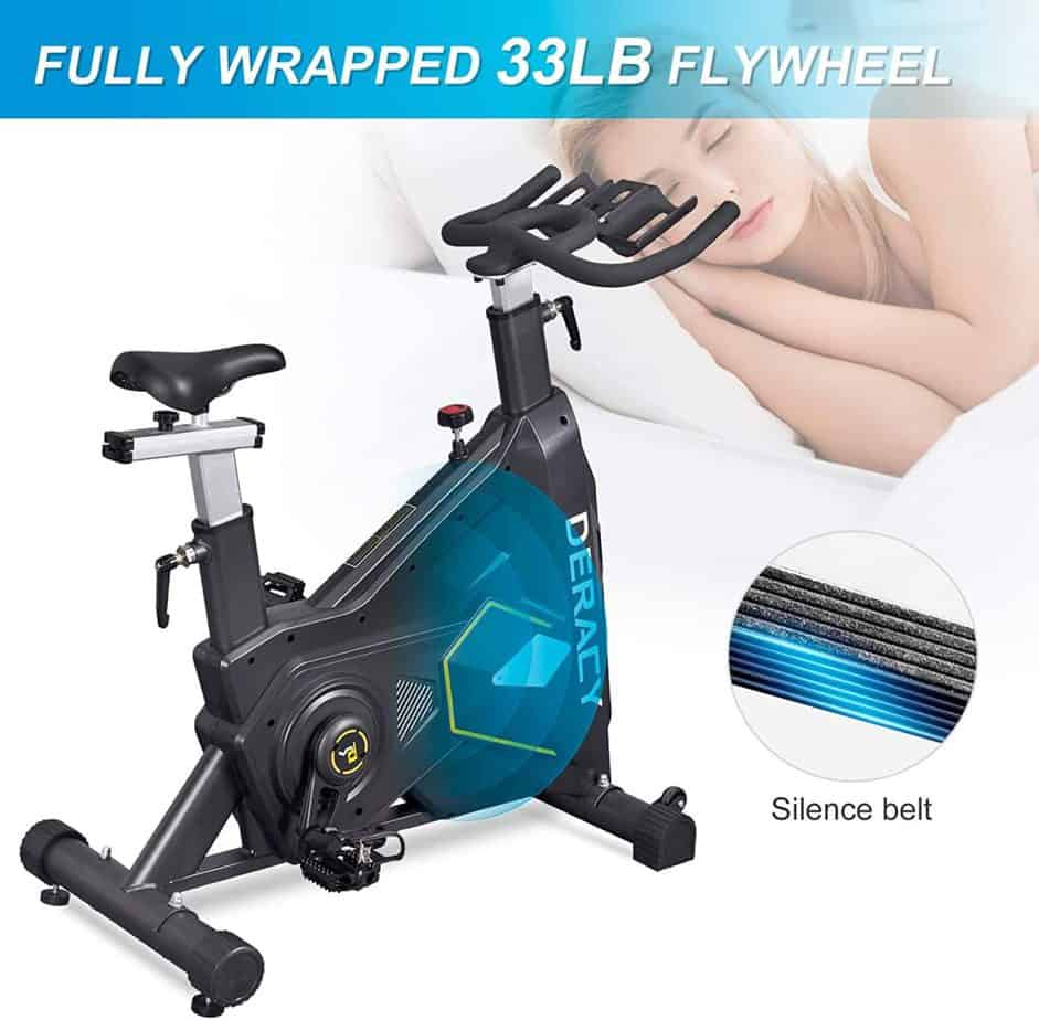DERACY Indoor Cycling Bike with a belt drive system