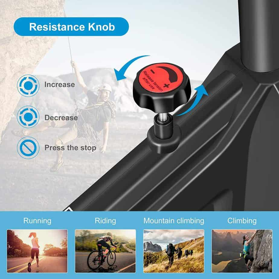 The resistance adjustament knob of the DERACY Indoor Cycling Bike