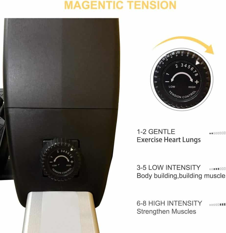 The drive and the tension knob of the FISUP Indoor Magnetic Rowing Machine