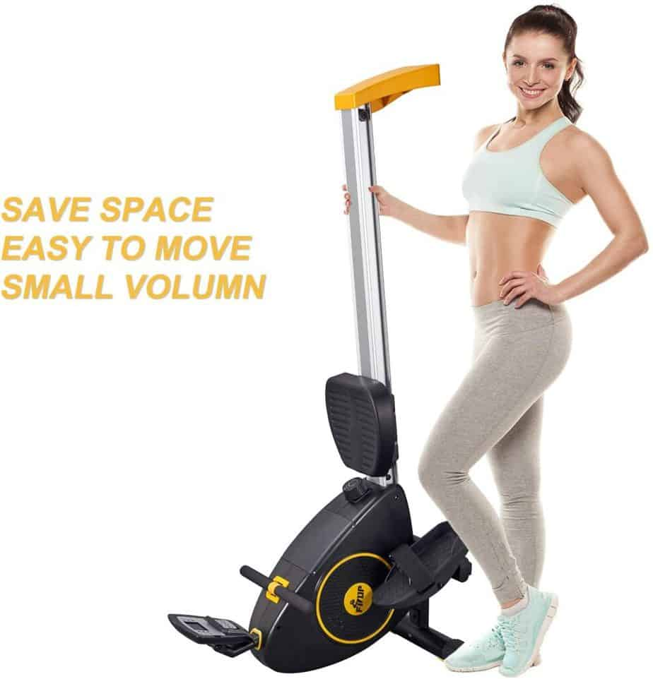 A user poses with the vertically positioned FISUP Indoor Magnetic Rowing Machine