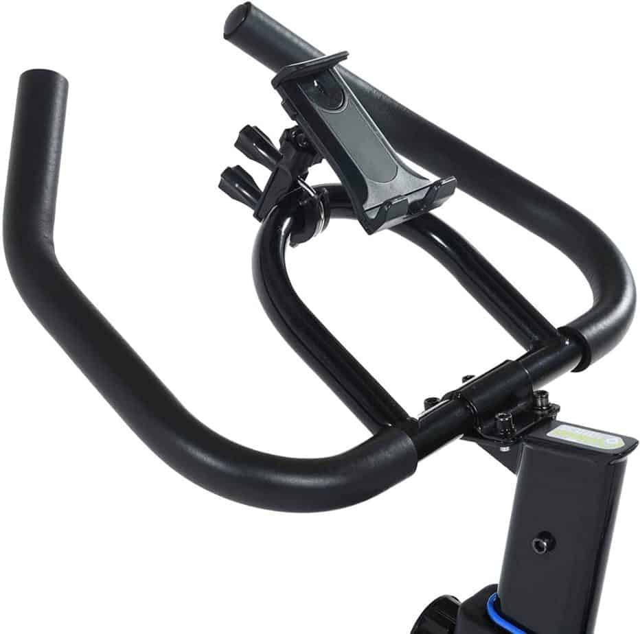 The multi-grip handlebar of the Exerpeutic LX 3000 Indoor Cycling Exercise Bike (4210) with a tablet holder