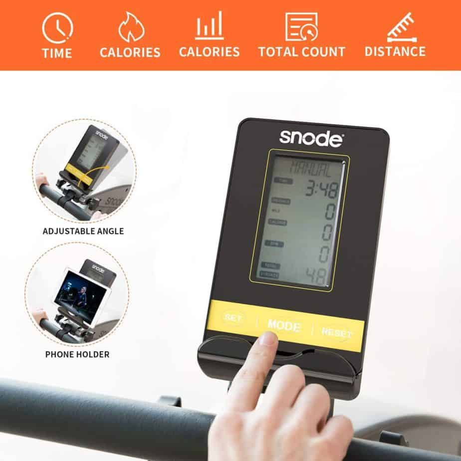The console/monitor of the SNODE S600 Bluetooth Magnetic Rowing Machine