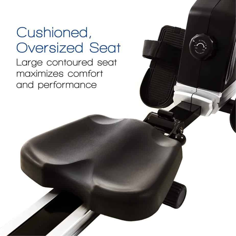 The padded seat of the XTERRA Fitness ERG200 Magnetic Rowing Machine