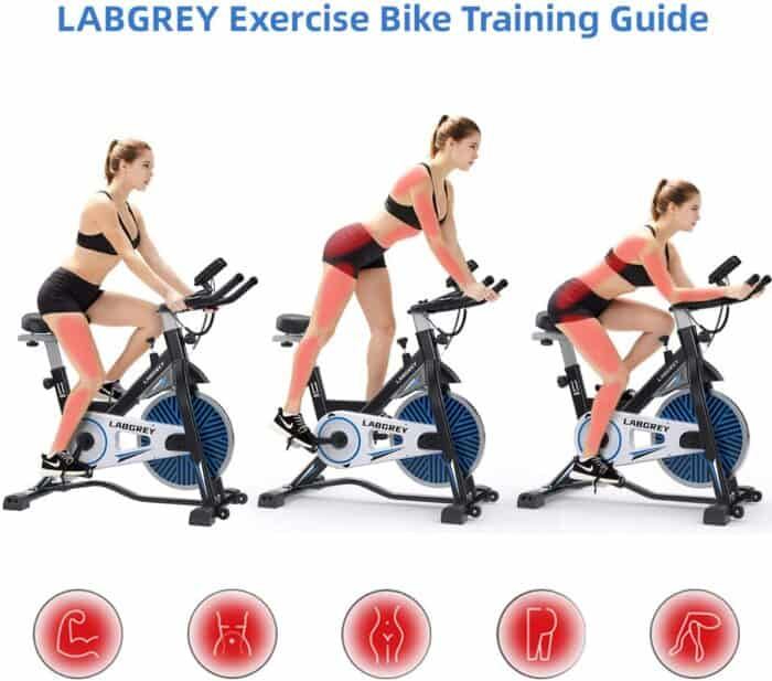 The LABGREY L1 Indoor Cycling Bike is being ridden in 3 different postures