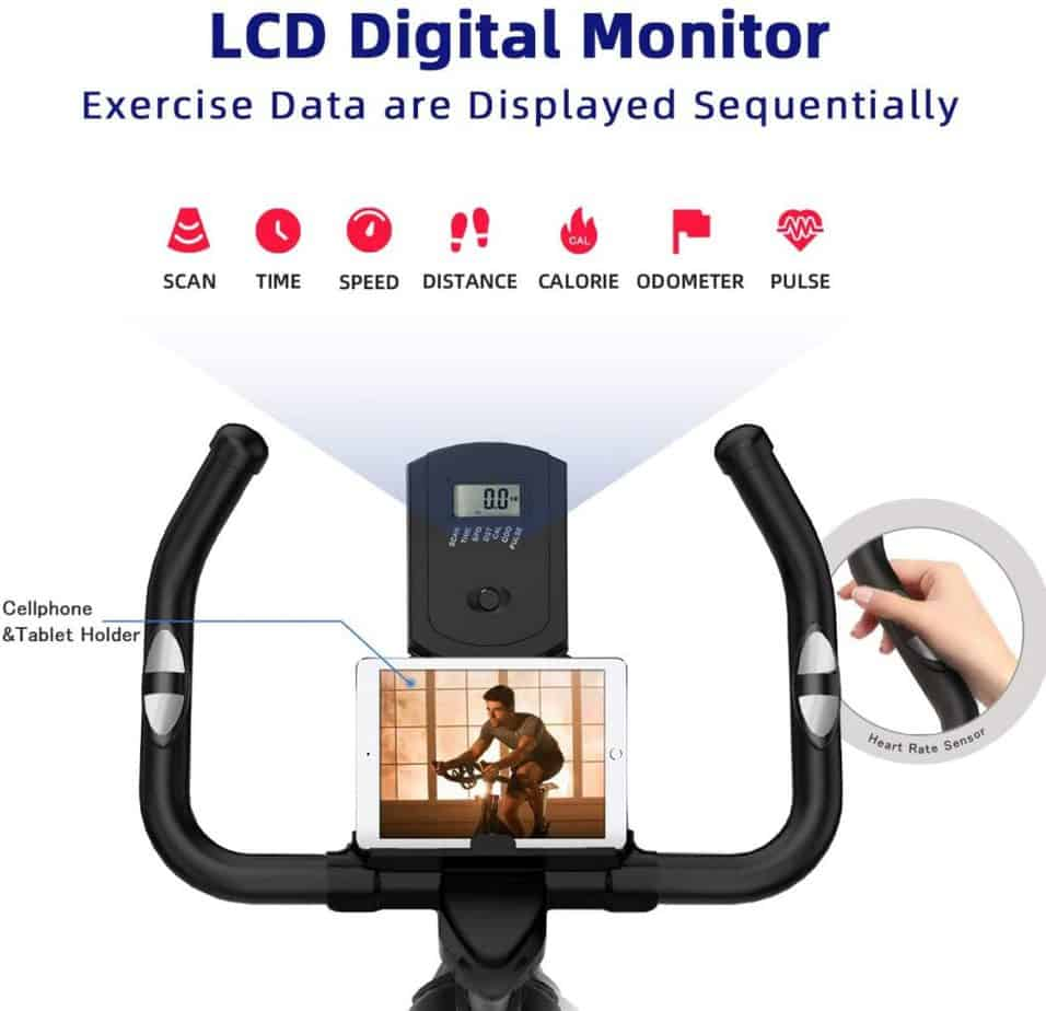 The handlebar, LCD monitor, and tablet holder of the LABGREY L1 Indoor Cycling Bike