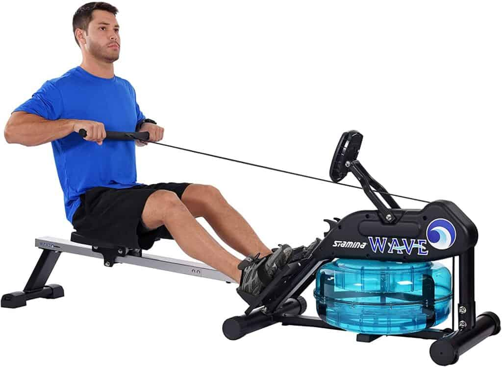 A man rows with the Stamina 35-1450 Elite Wave Water Rower