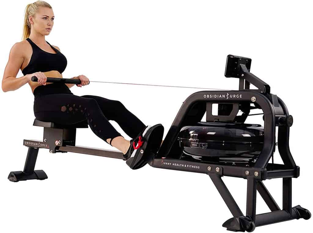 A lady exercises with the Sunny Health & Fitness SF-RW5713 Obsidian Surge 500 Rowing Machine