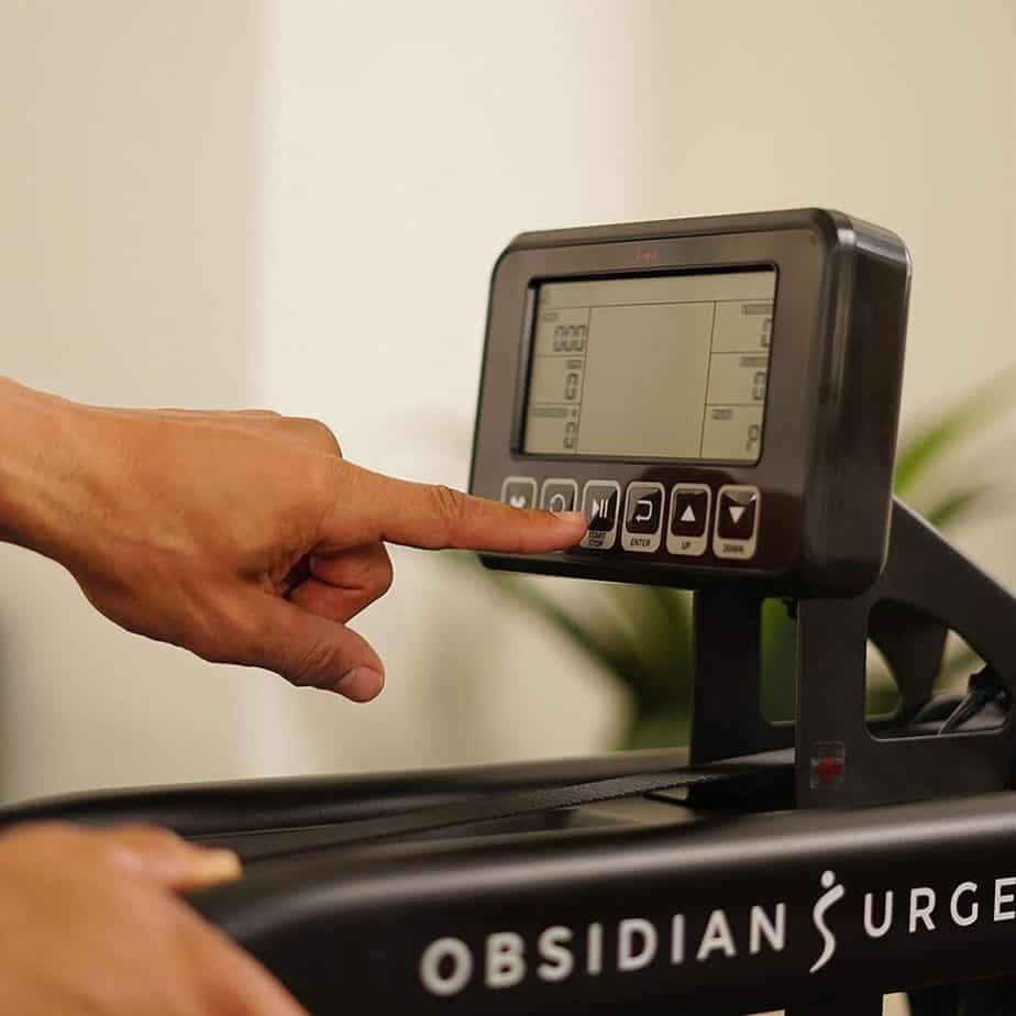 The console of the Sunny Health & Fitness SF-RW5713 Obsidian Surge 500 Rowing Machine
