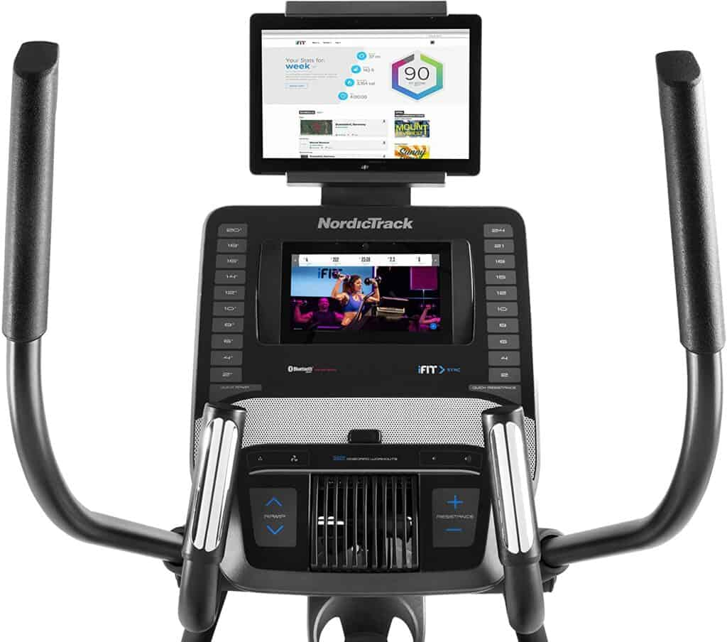 The handlebars, tablet holder, and the console of the NordicTrack NTEL71218 C 12.9 Elliptical Trainer