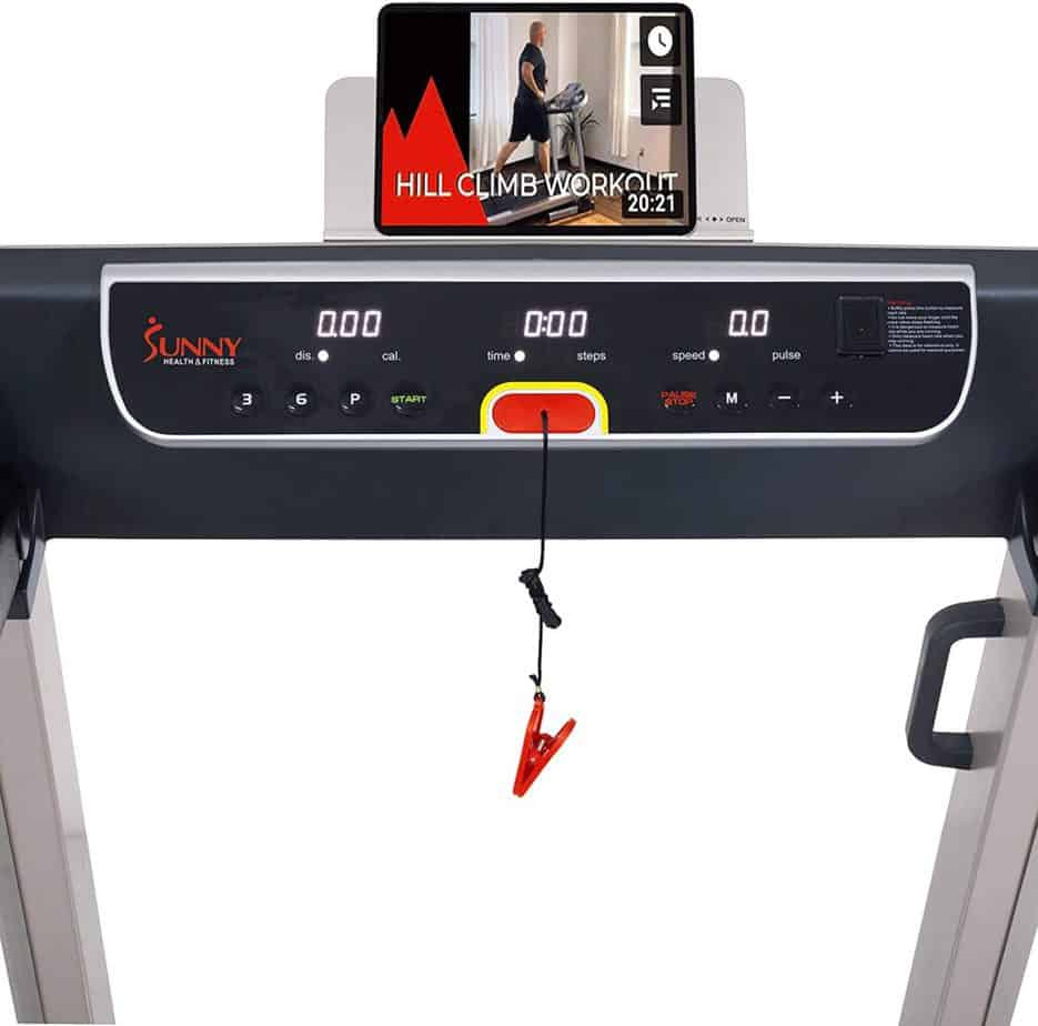 The console of the Sunny Health & Fitness SF-T7718 Electric Treadmill