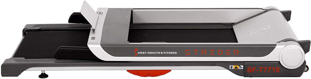 The folded version of the Sunny Health & Fitness SF-T7718 Electric Treadmill