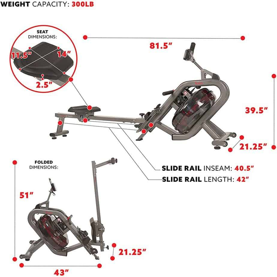 The seat and the folded version of the Sunny Health & Fitness SF-RW5910 Phantom Hydro Water Rower