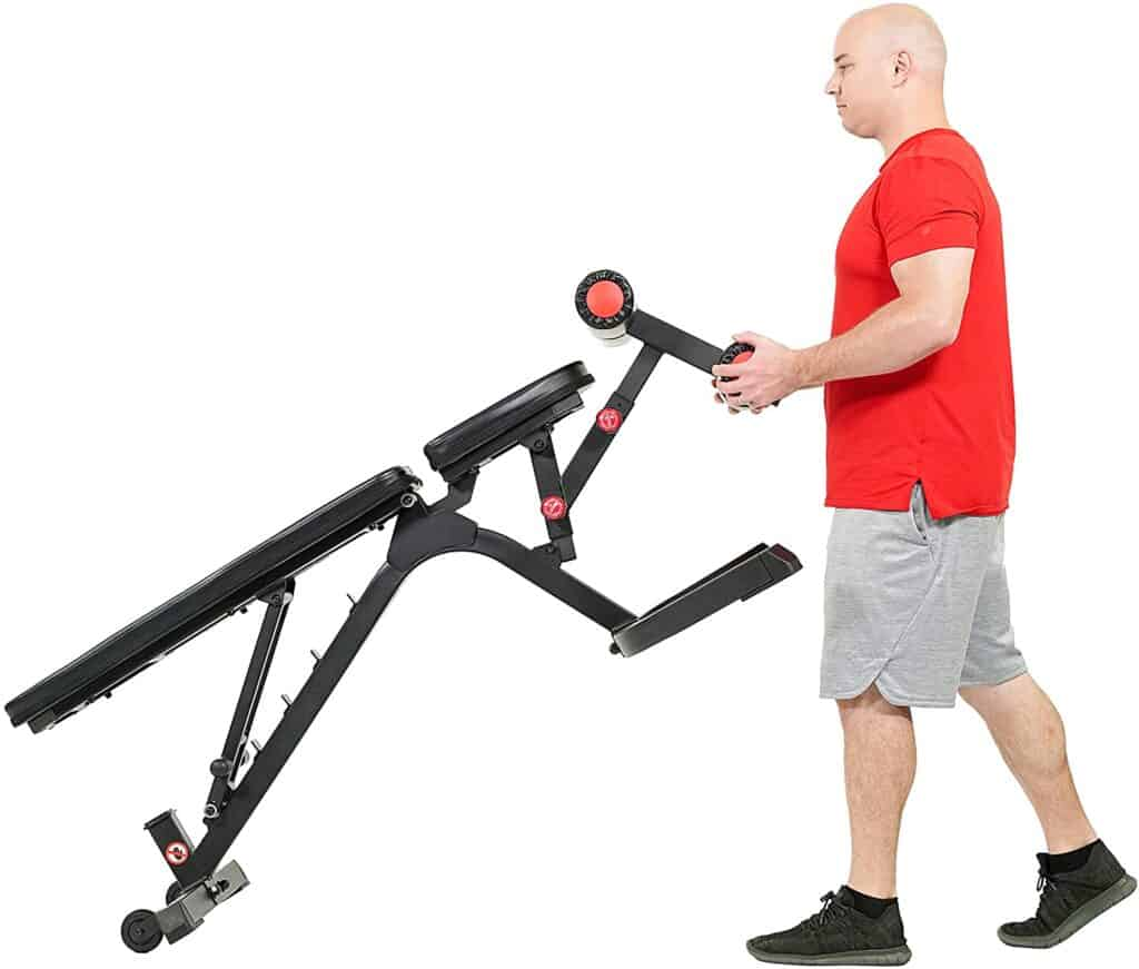 A man pushes the SF-BH6920 Weight Bench to storage area