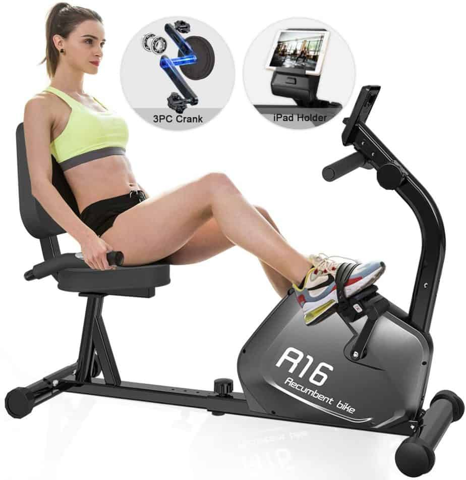 A lady exercises with the SNODE R16 Magnetic Recumbent Bike