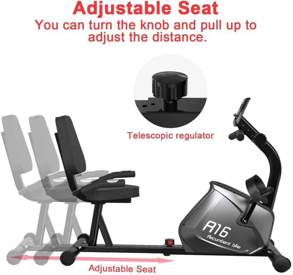 The adjustable frame/seat of the SNODE R16 Magnetic Recumbent Bike
