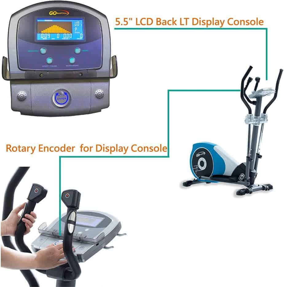 The console of the GOELLIPTICAL V-450T Elliptical Cross Trainer