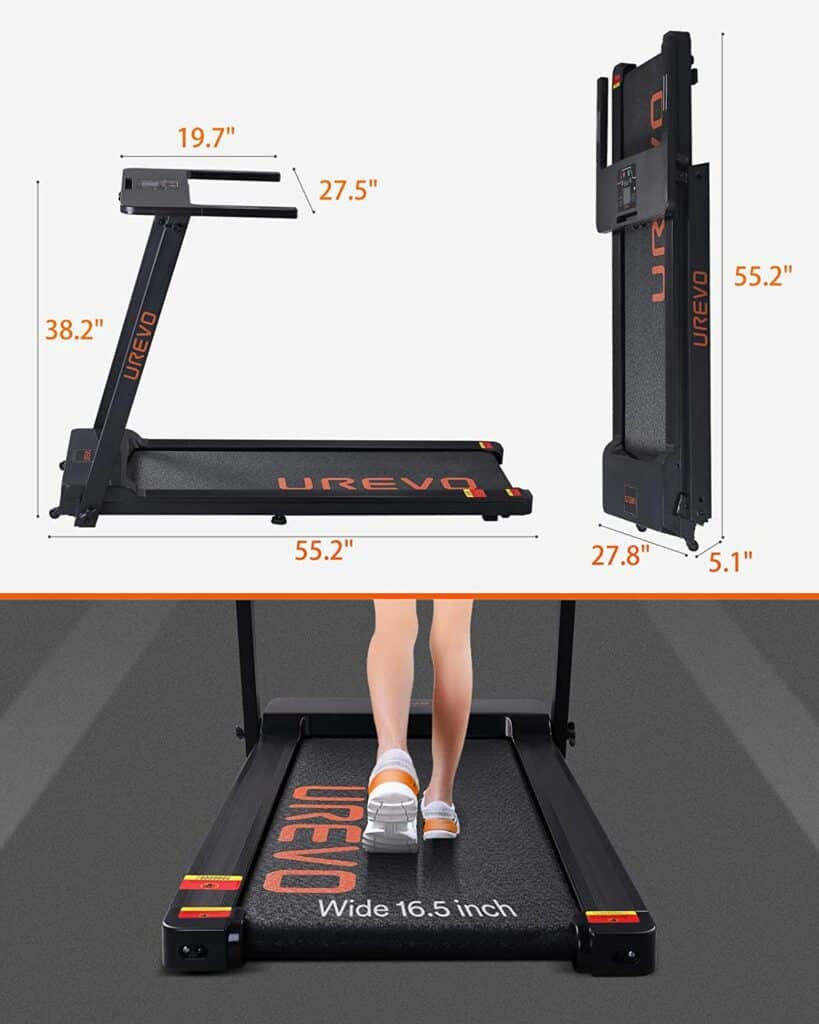 Folded and unfolded versions of the UREVO Foldable Under-Desk 2.5 HP Treadmill