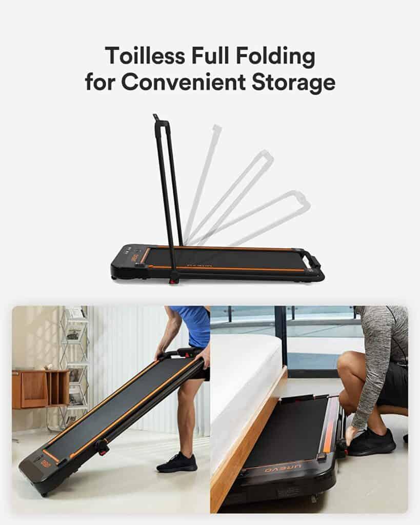The UREVO 2-in-1 Under-Desk 2.5 HP UR9TM0011 Treadmill is being rolled away for storage