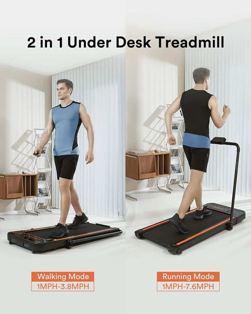Two men use the two modes of the UREVO 2-in-1 Under-Desk 2.5 HP UR9TM0011 Treadmill to exercise