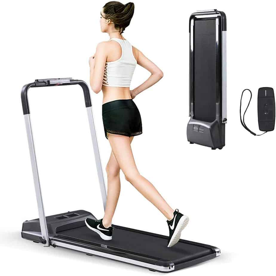 This user jogs on the Estleys 2-in-1 Under-Desk Treadmill