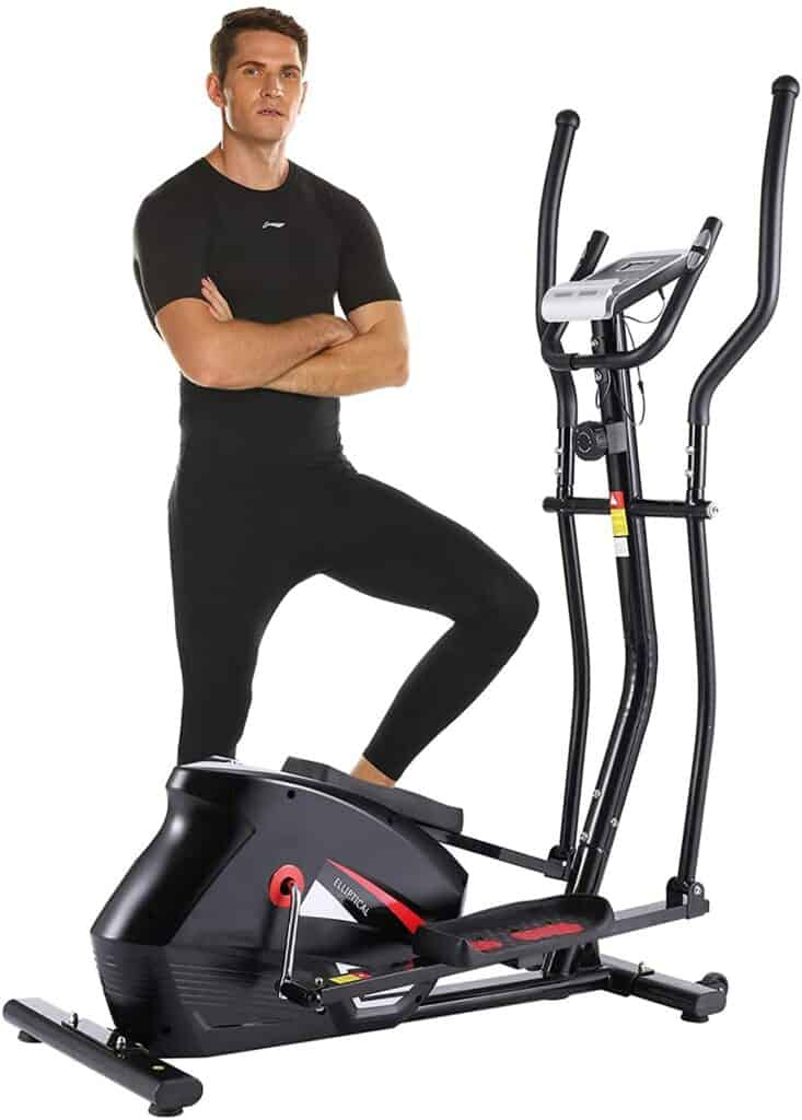 An athlete poses by the ANCHEER EM530 Magnetic Elliptical Trainer