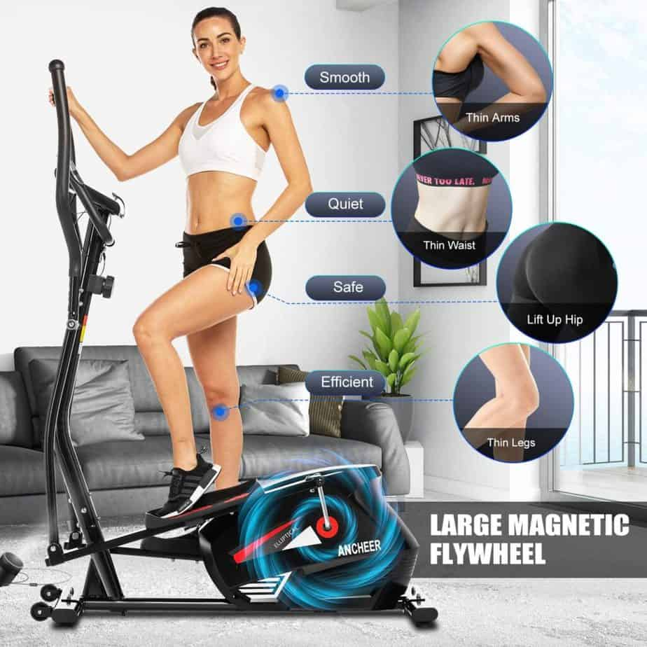A lady poses on the ANCHEER EM530 Magnetic Elliptical Trainer