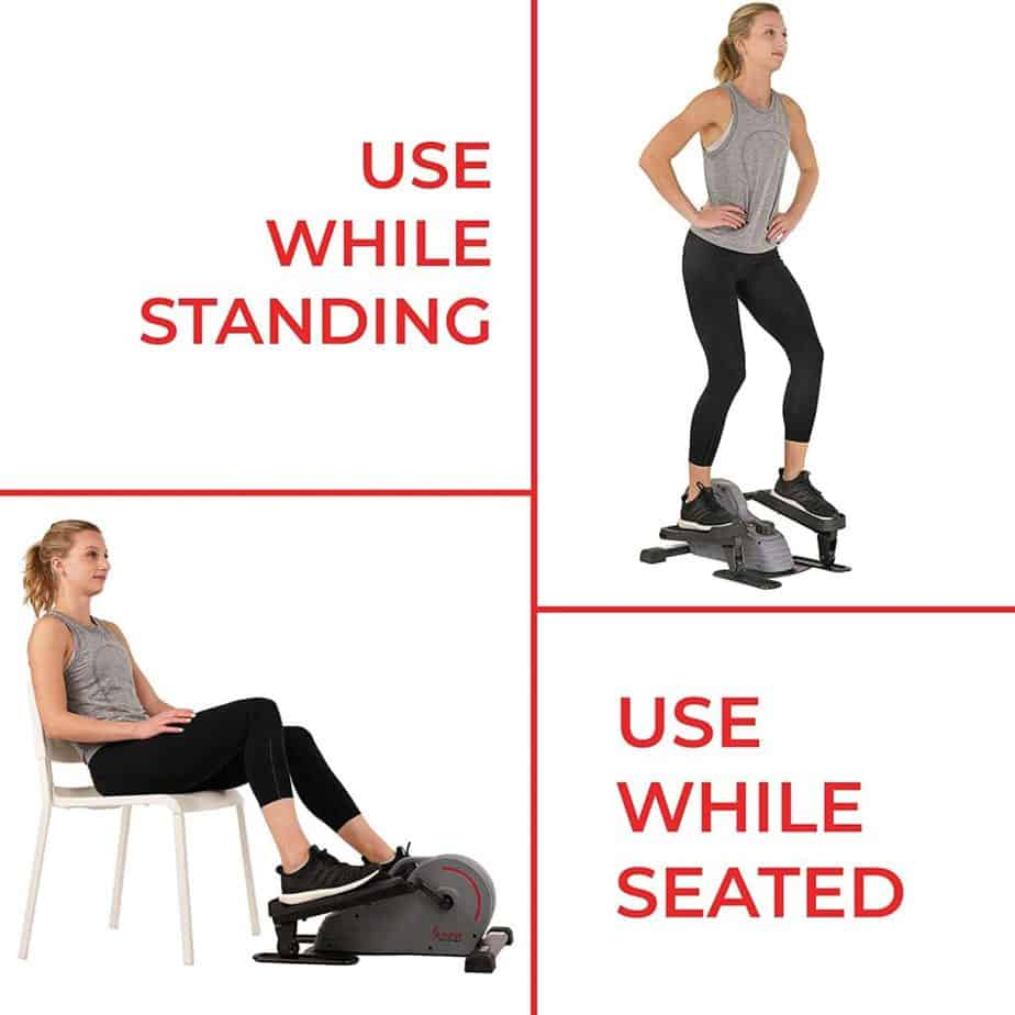 A lady uses the Sunny Health & Fitness SF-E3908 Under-Desk/Standing Portable Elliptical Machine while seated and standing