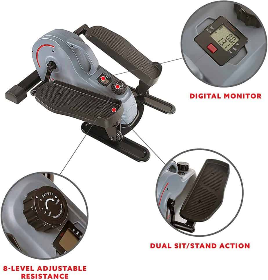 The control knob, pedal, and the console of the Sunny Health & Fitness SF-E3908 Under-Desk/Standing Portable Elliptical Machine