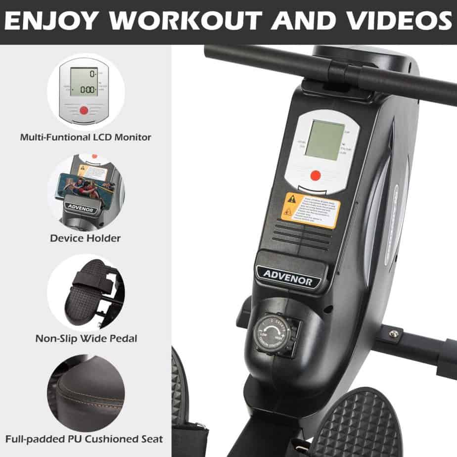 The console/monitor, pedal, and the seat of the Advenor Foldable Magnetic Rowing Machine