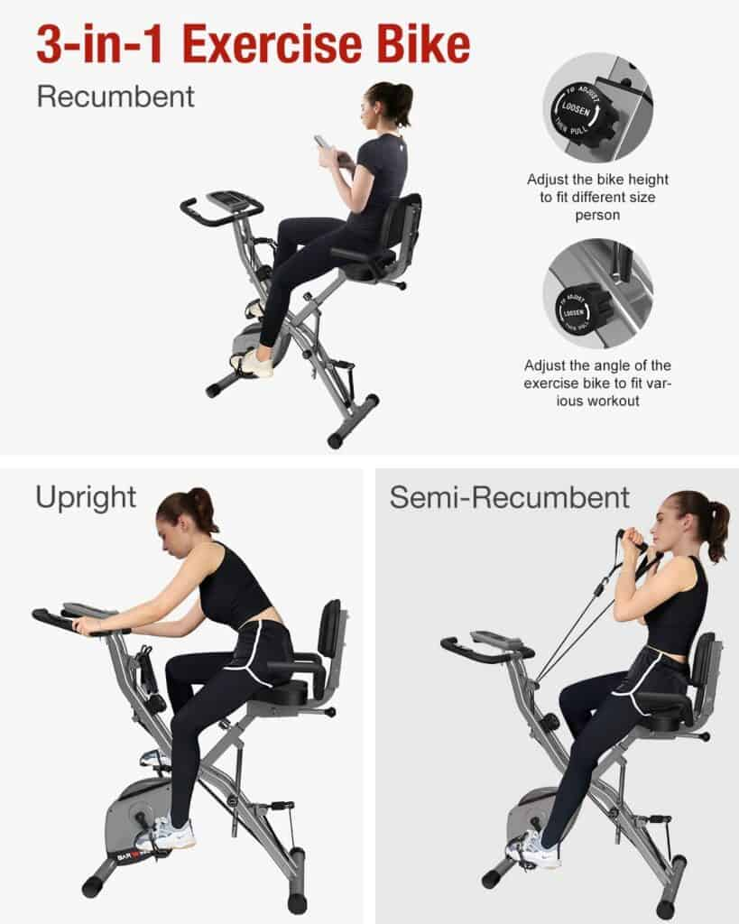 The BARWING Folding Upright Bike is being ridden in an upright, semi-recumbent,, and recumbent positions by a lady