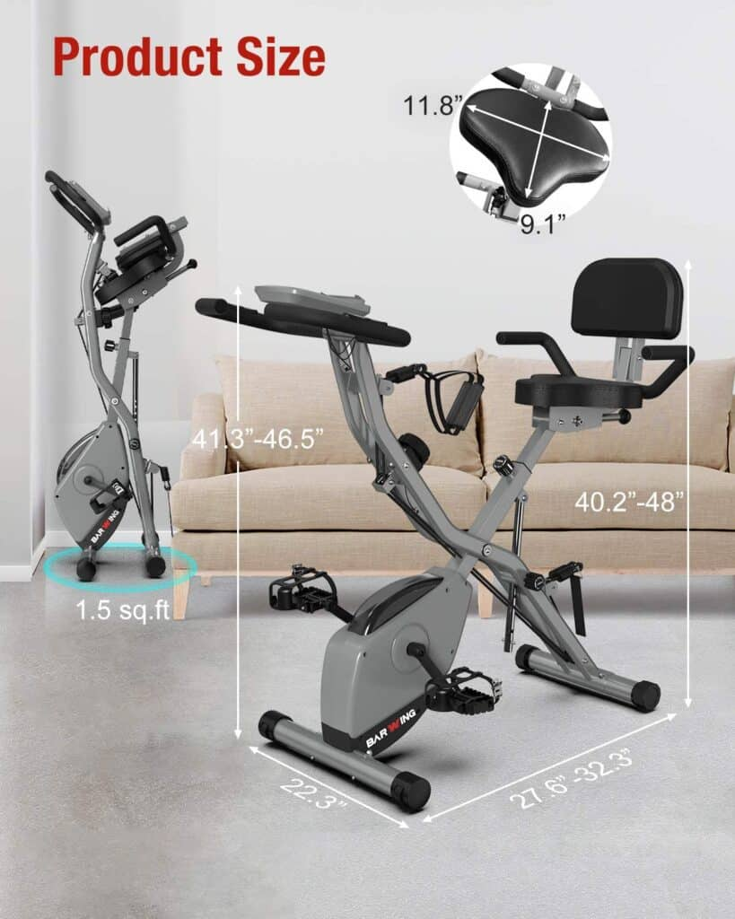 Folded and unfolded versions of the BARWING Folding Upright Bike