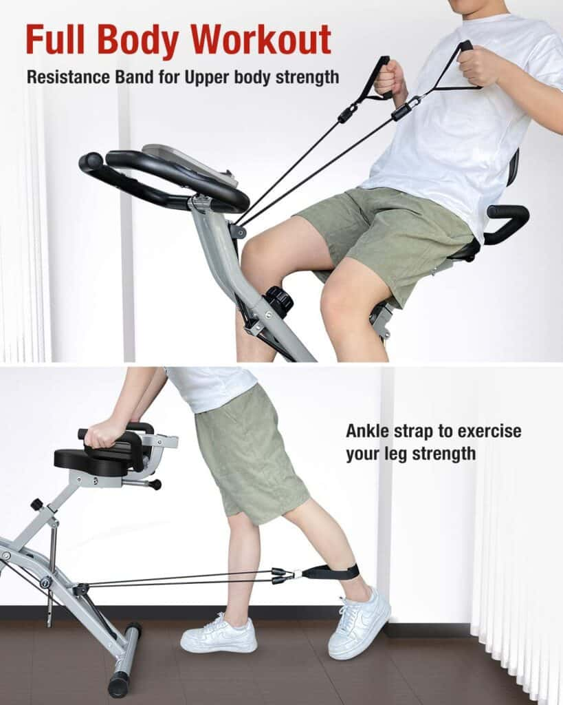 The arm resistance bands and ankle strap of the BARWING Folding Upright Bike