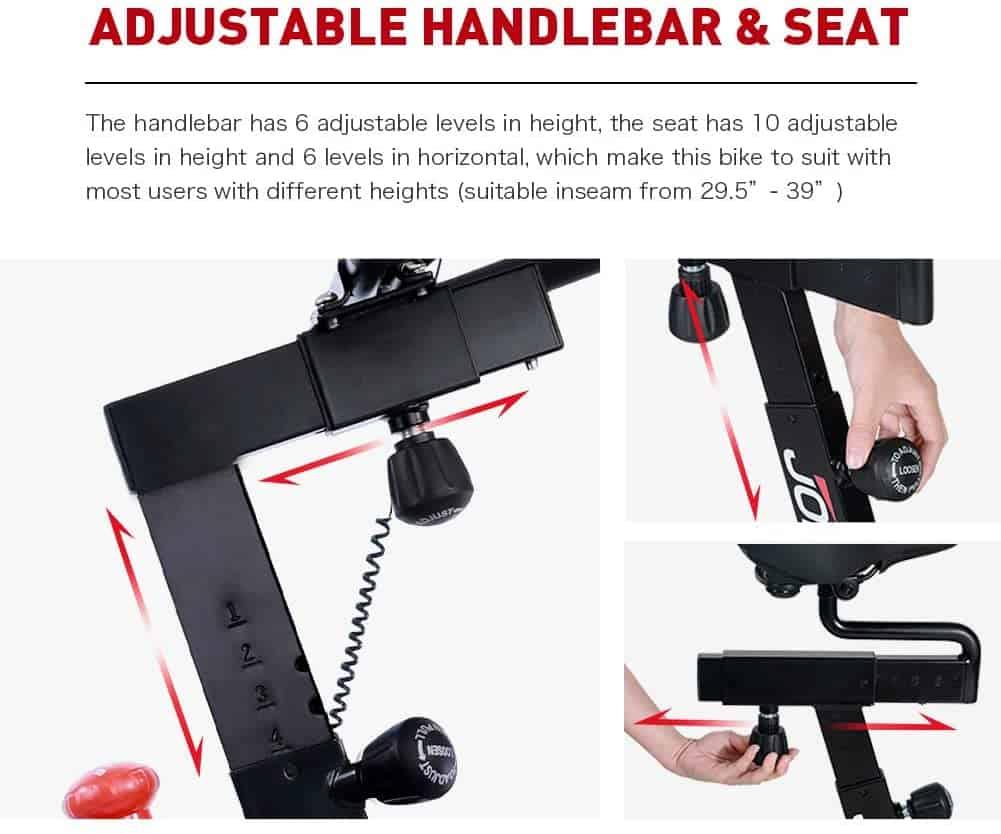 The adjustable seat and handlebar of the Joroto XM16 Exercise Bike