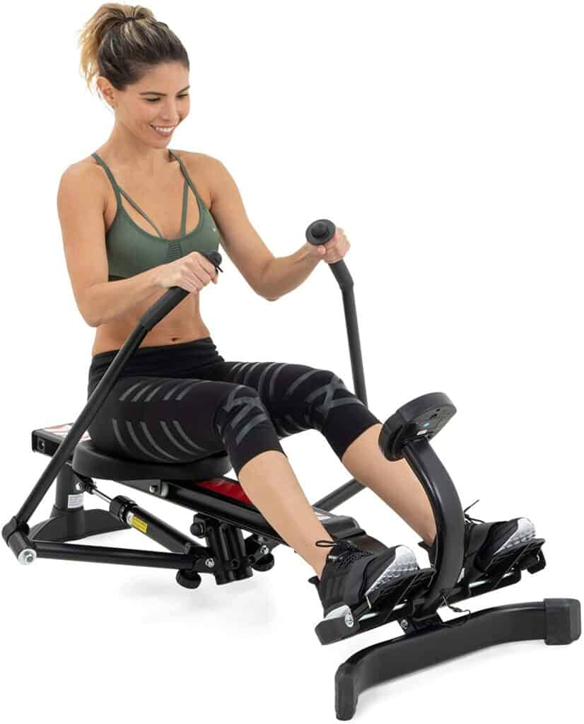 A lady works out with the Lenos Hydraulic Rowing Machine
