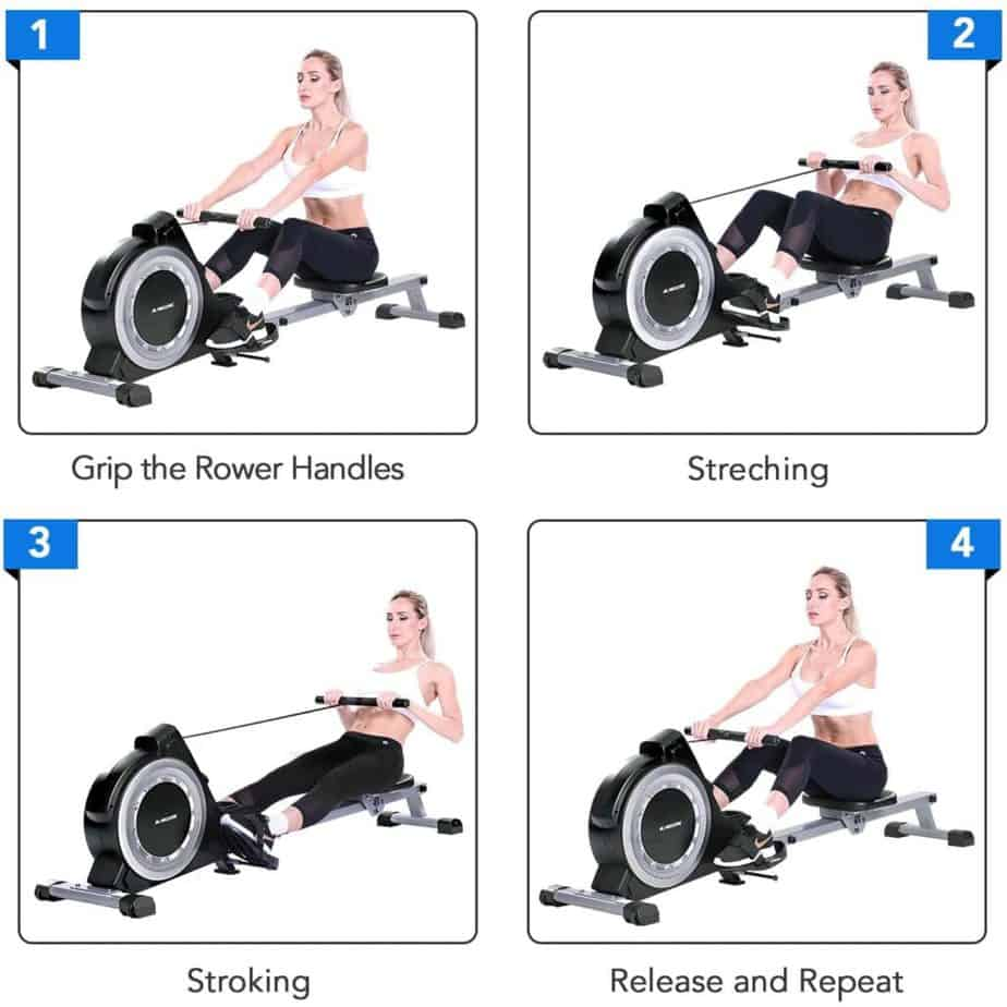 Picturic display of how to row with the v