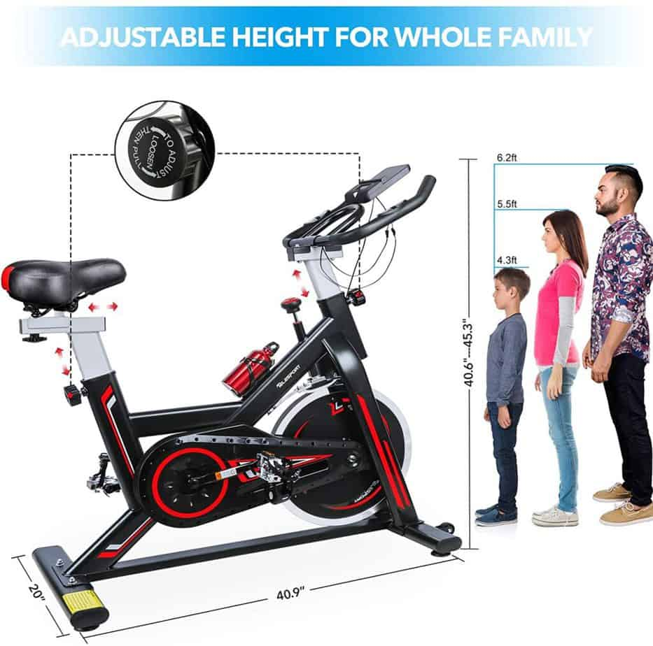 The seat adjustment of the TELESPORT Indoor Cycling Bike enables users betweeh the heights of 4'6''-6'2'' to use it