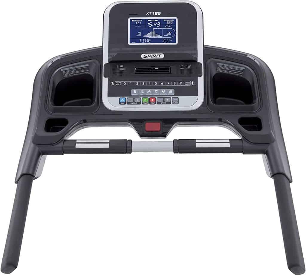 The console of the Spirit Fitness XT185 Folding Treadmill