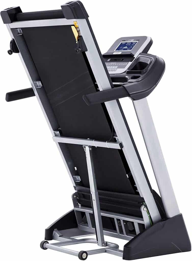 The folded Spirit Fitness XT185 Folding Treadmill