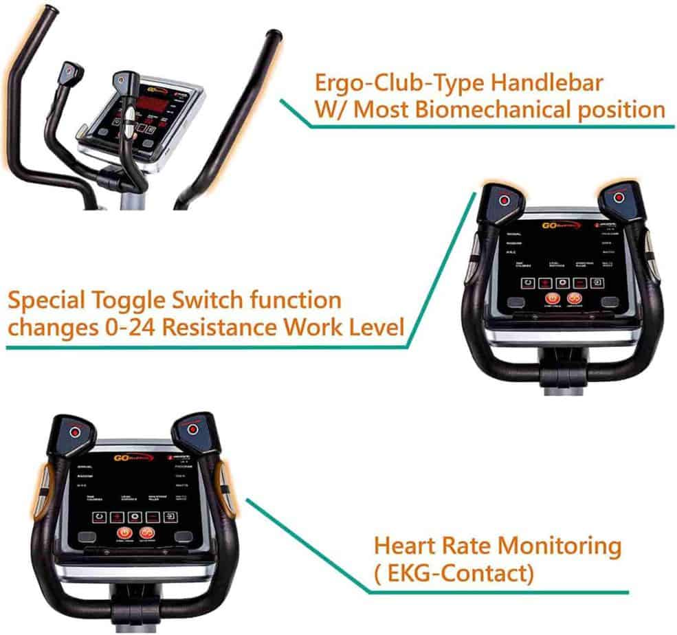 The console and the handlebars of the GOELLIPTICAL V-950X Elliptical Trainer