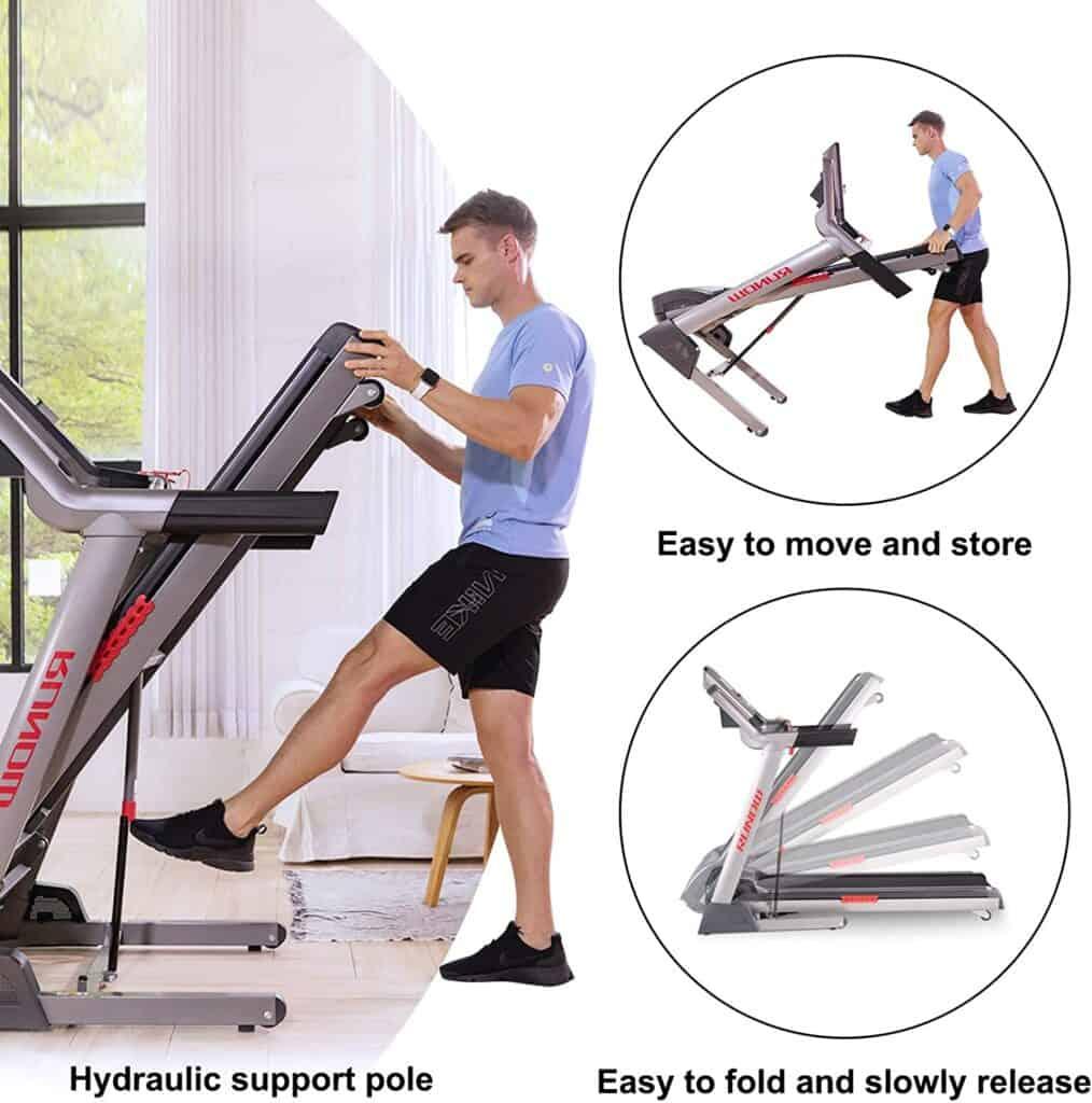 A man unfolds the RUNOW 6631CA Folding Treadmill