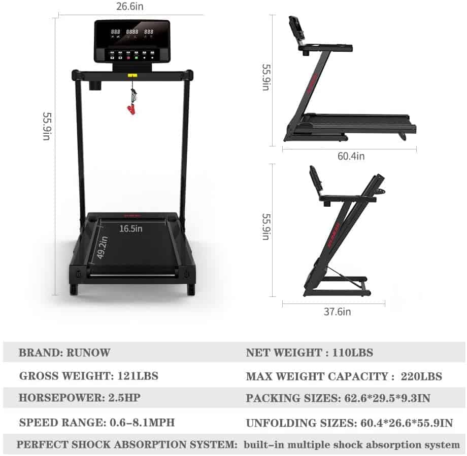 The side and front views of the RUNOW 3305EB Folding Treadmill, and the folded version