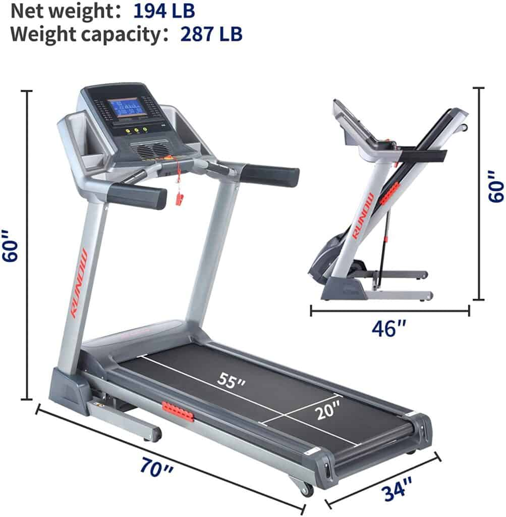The folded and unfolded versions of the RUNOW 6631CA Folding Treadmill