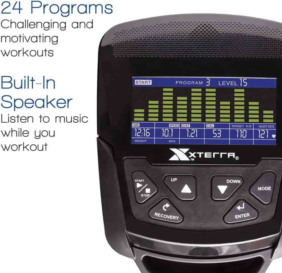 The console of the XTERRA SB2.5R Exercise Recumbent Bike