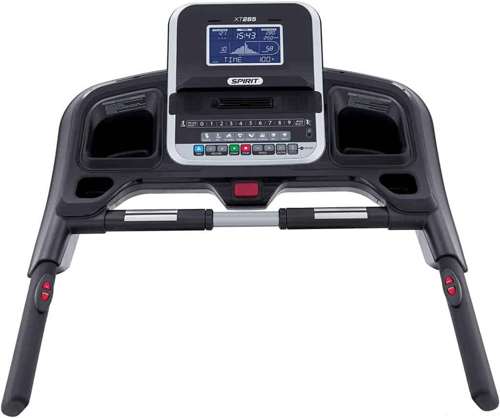 The console of the Spirit Fitness XT285 Folding Treadmill