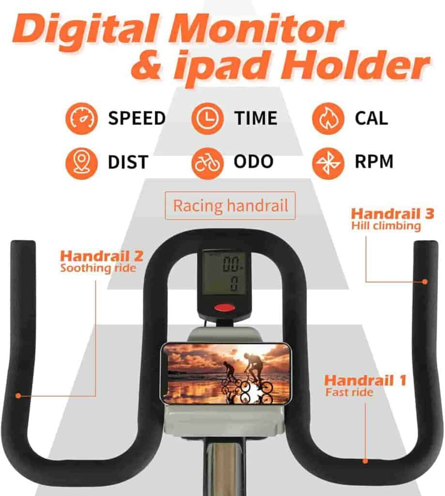 The handlebar, tablet holder, and the console of the ADVENOR Magnetic Resistance Exercise Bike