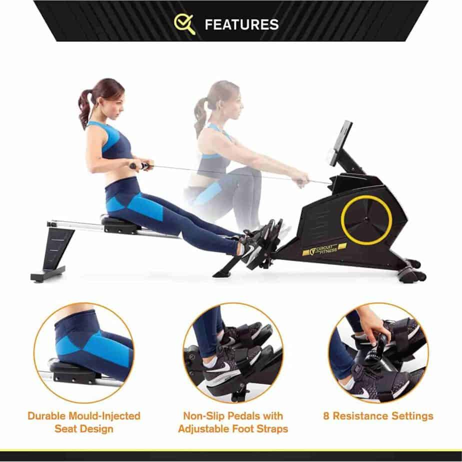 A lady is exercising with the Circuit Fitness AMZ-986RW-BT Magnetic Rowing Machine